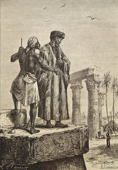 Book illustration by Léon Benett published in 1878 showing Ibn Baṭṭūṭah – right, in Egypt. (Jules Verne / Public Domain)