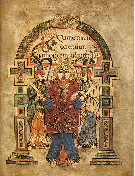 Book of Kells, Arrest of Christ. (Scanned from Treasures of Irish Art 1500 BC to 1500 AD)
