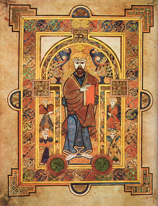 Book of Kells, Folio 32v, Christ Enthroned. (Public Domain)
