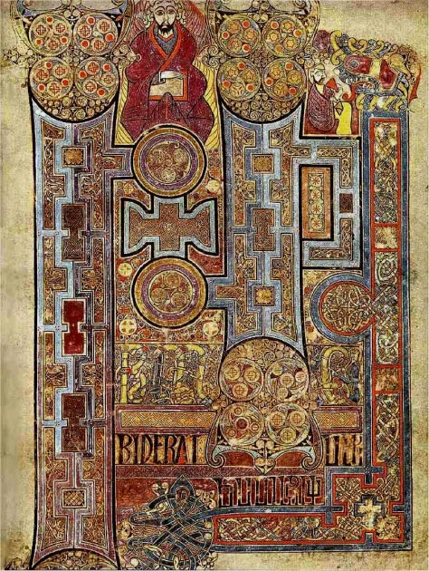 The Book of Kells showing the lavishly decorated text that opens to the Gospel of John. (Dsmdgold / Public Domain)