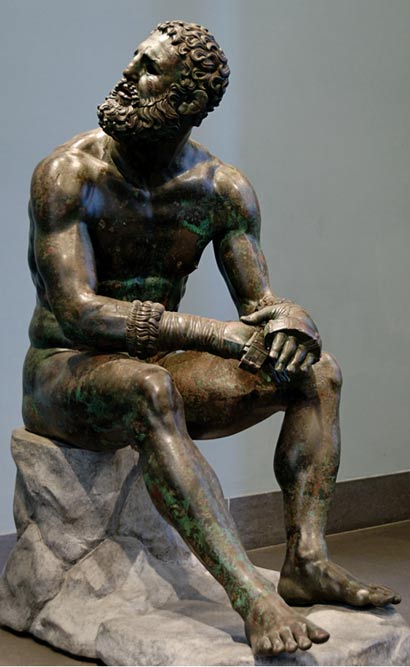 Boxer resting after contest (bronze sculpture, 300–200 BC)