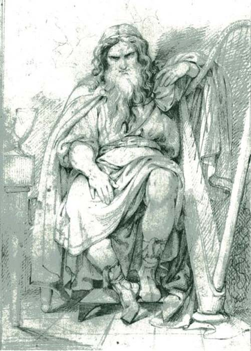 Brage is very wise and eloquent, and the god of skaldic poetry and prose. (Drawing by: Carl Wahlbom)