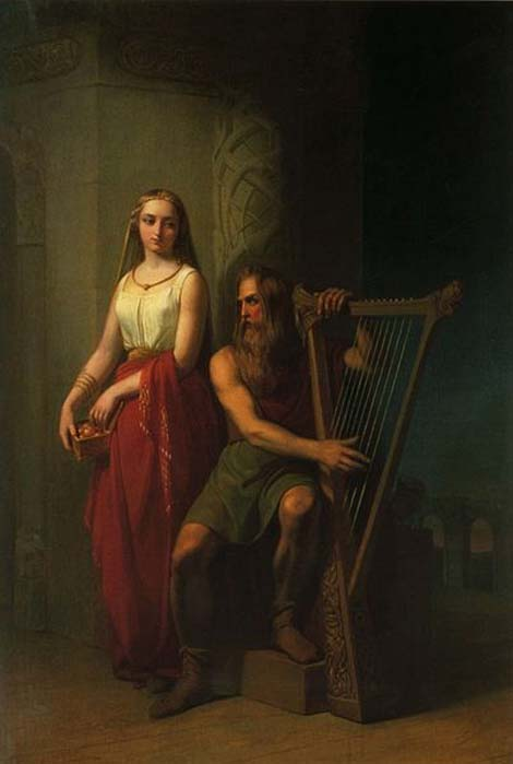 Bragi sitting playing the harp, Iðunn standing behind him. (1846) By Nils Blommér. (Public Domain)