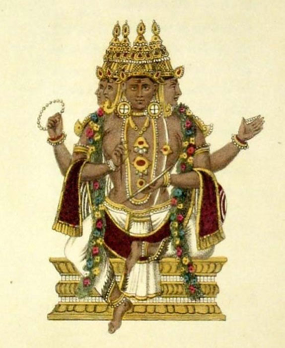 Brahma. Hand coloured engravings by Frederic Shoberl from his work 'The World in Miniature: Hindoostan'. London: R. Ackerman (1820) (Pubic Domain)