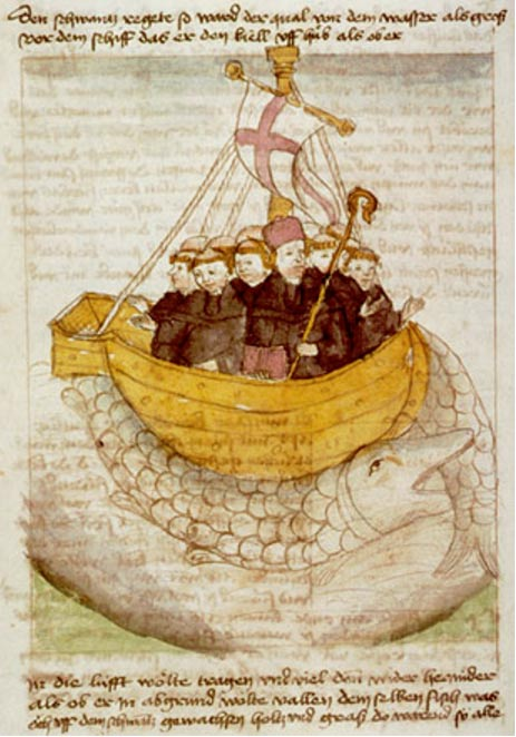 Brendan and his monks' ship is carried by a giant fish in a German manuscript.