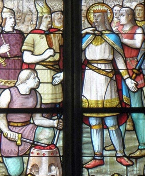 Breton king Solomon (right) with men seem to be Normans, the Norman leader (left) could be Hasting (Hastein). (CC BY SA 3.0)