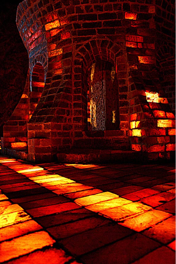 Bricks of salt arranged to create brightly lit architecture within the mines.