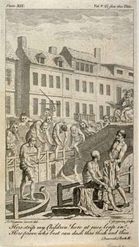 Bridge over the New Canal at Holborn: illustration from Alexander Pope's 'Dunciad' (1728). The bathers are included in satirical allusion to the poor quality of the water. (Public Domain)