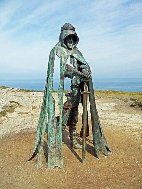 Bronze Excalibur and King Arthur Sculpture, Tintagel Castle, Cornwall, UK