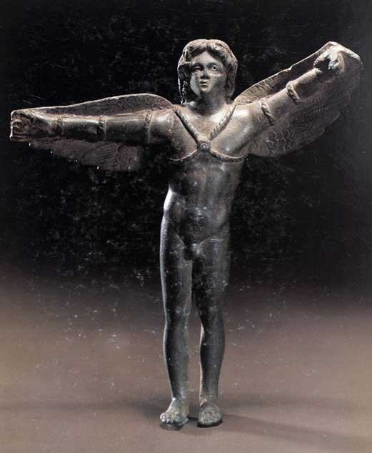 Bronze Icarus fitted with wings. (Public Domain)