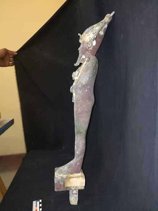 Restoration Work Uncovers Statuette of Osiris Secreted in Pyramid Wall Bronze-Osiris-statuette-found-at-Djoser