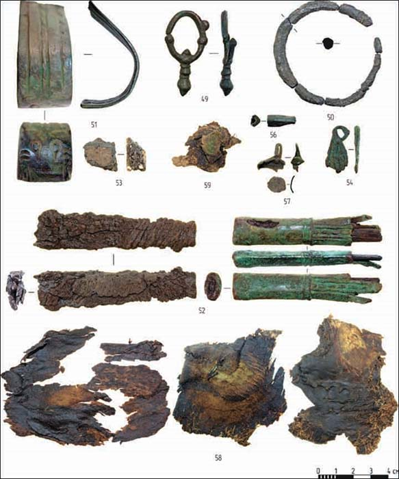Bronze bracelet with a bear image, a silver pendant, a temporal ring, a bronze pendant, a knife with a bronze handle, fragments of facial mask made of animal skin.