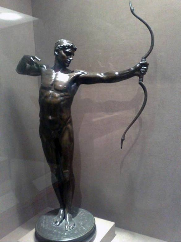 Bronze statue depicting legendary archer, Teucer.