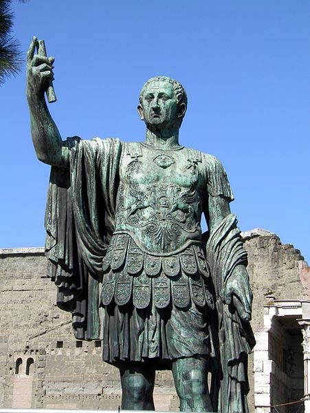 Bronze statue of emperor Nerva, Forum of Nerva, Rome.