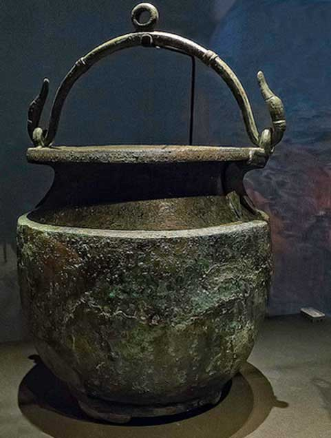 Bronze wine mixing bucket with goose-shaped handles from a thermopolium (fast food eatery) in Pompeii Roman 1st century AD.
