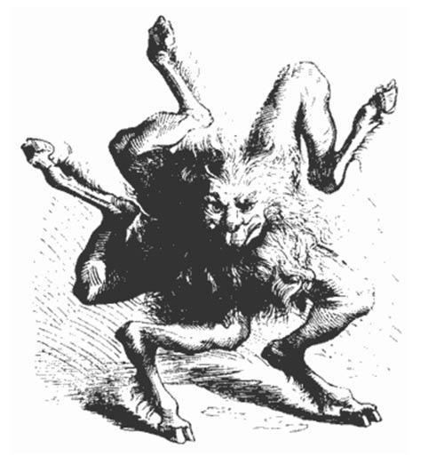 """Buer, la décima espíritu, que enseña """"Moral y Filosofía Natural"""", desde Dictionnaire Infernal, un libro sobre demonología"""