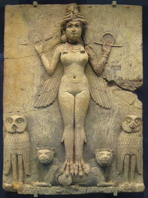 """The """"Burney Relief,"""" which is believed to represent either Ishtar, the Mesopotamian goddess of love and war, or her older sister Ereshkigal, Queen of the underworld (c. 19th or 18th century BC). (CC0)"""