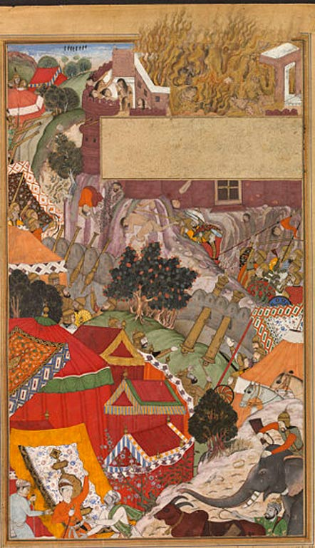 The Burning of the Rajput women, during the siege of Chitor. This page of the Akbarnama depicts the 'jauhar', or burning, of the Rajput women following the fall of the fortress of Chitor in 1568. The women preferred to perish rather than be captured by the enemy, and it is thought that as many as 300 women died in the event.