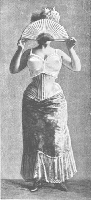 Bust improver from 1900 worn over a corset. (Public Domain)