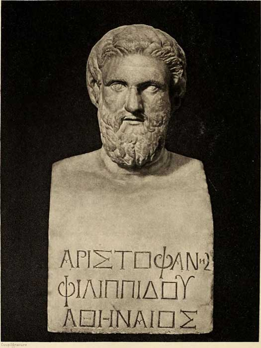 Bust of Aristophanes in the Uffizi Gallery, Florence, Italy. (Public Domain)