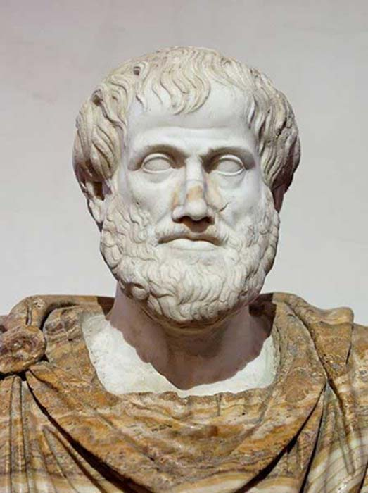 Bust of Aristotle. Marble, Roman copy after a Greek bronze original by Lysippos from 330 BC; the alabaster mantle is a modern addition. (Public Domain)