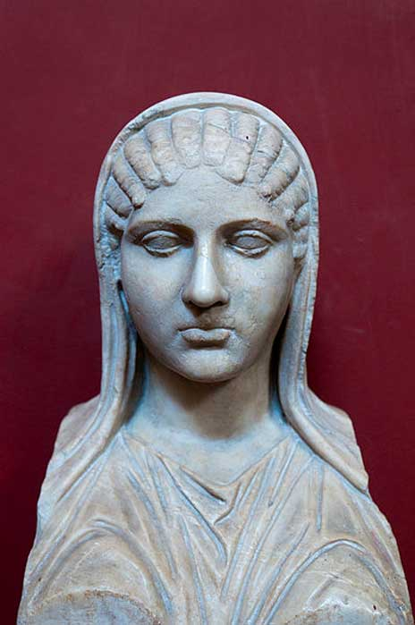 Bust of Aspasia, identified through an inscription. Marble, Roman copy after a Hellenistic original. From Torre della Chiarrucia. (Michal Osmenda/CC BY SA 2.0)