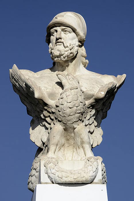 Bust of Cimon at the beach of Larnaca, Cyprus.
