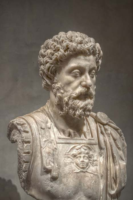 Bust of Marcus Aurelius in the Musée Saint-Raymond, Toulouse, France.