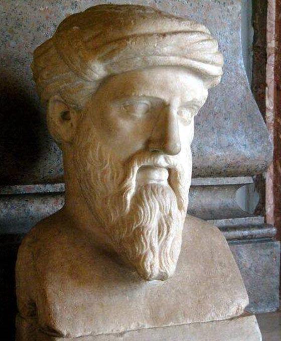 Bust of Pythagoras – Roman copy of the Greek original. Musei Capitolini, Rome, Italy.