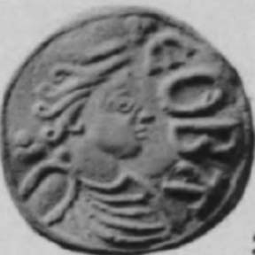 Bust of Queen Cynethryth, wife of Offa of Mercia.