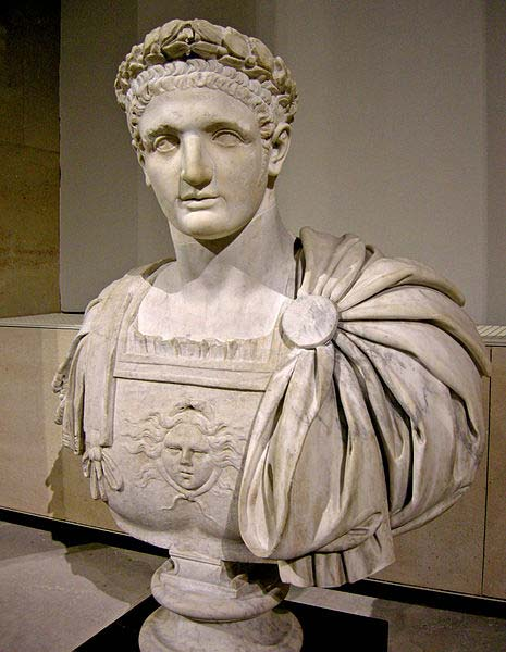 Bust of Roman emperor Domitianus. Antique head, body added in the 18th century. Musée du Louvre (Ma 1264), Paris. Formerly in the Albani Collection in Rome.