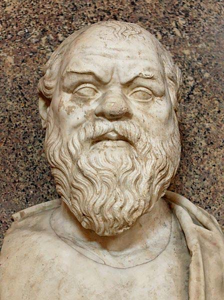 Bust of Socrates. Marble, Roman copy after a Greek original from the 4th century BC. From the Quintili Villa on the Via Appia. (Public Domain)