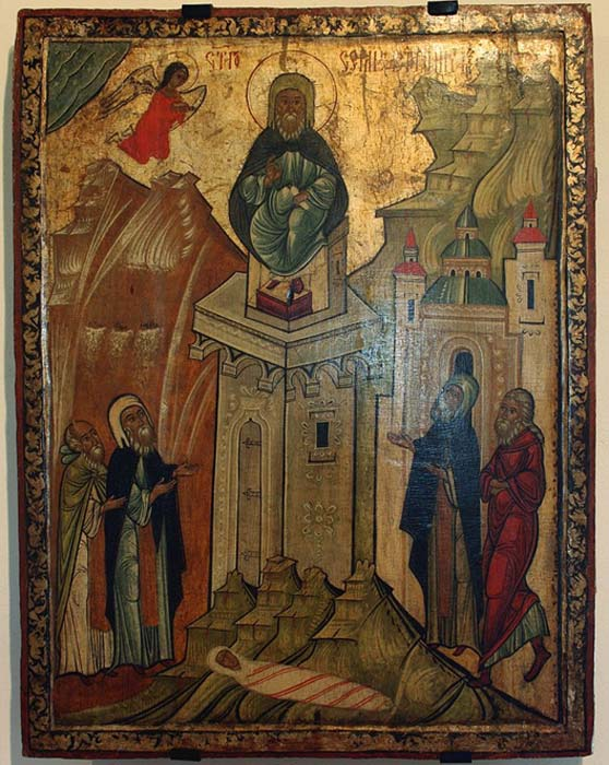 Byzantine hermit Simeon Stylites sits on top of a pillar
