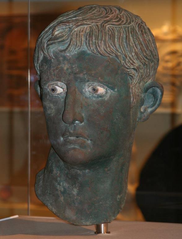 Caesar Augustus, bronze bust, sculpted circa 27 to 25 B.C.