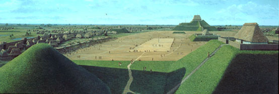 A reconstruction of Cahokia with Monk's Mound