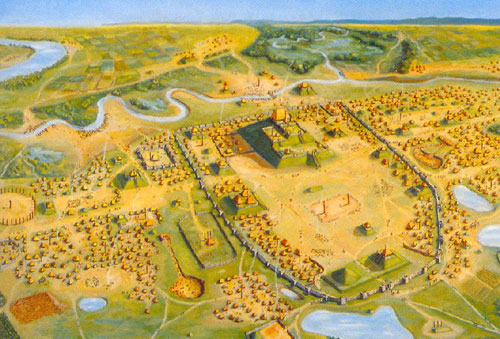 An artist's rendition of Cahokia Mounds