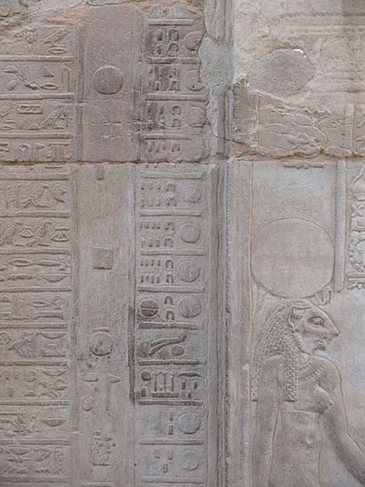 Calendar in the temple of Kom Ombo. The calendar shows the hieroglyphics for the days of the fourth month of the harvest and the first day of the first month of the flood.