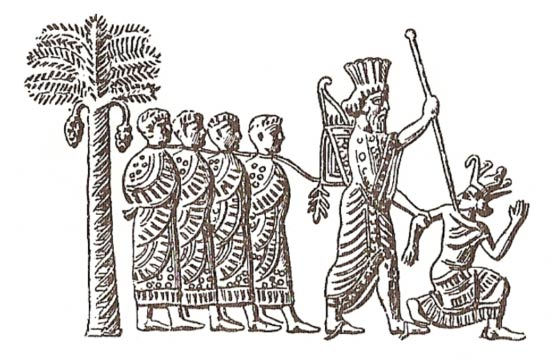 Cambyses II of Persia capturing pharaoh Psamtik III. Image on Persian seal, 6th century B.C.