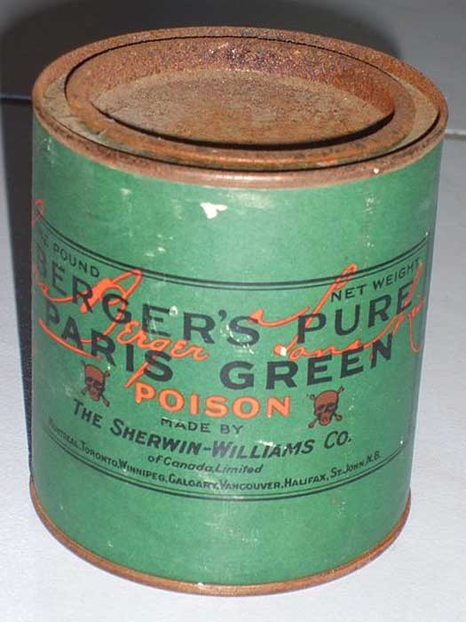 Can of deadly Paris Green pigment. CC BY-SA 3.0