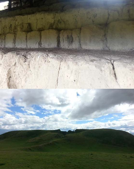 Canagugua blocks (top) and the partially destroyed pyramid 9 (bottom). (Alicia McDermott)