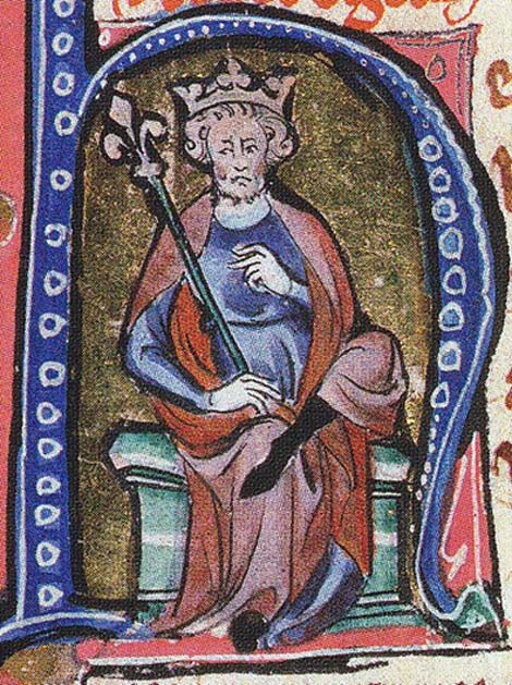 Canute (Cnut) the Great illustrated in an Initial of a medieval manuscript.