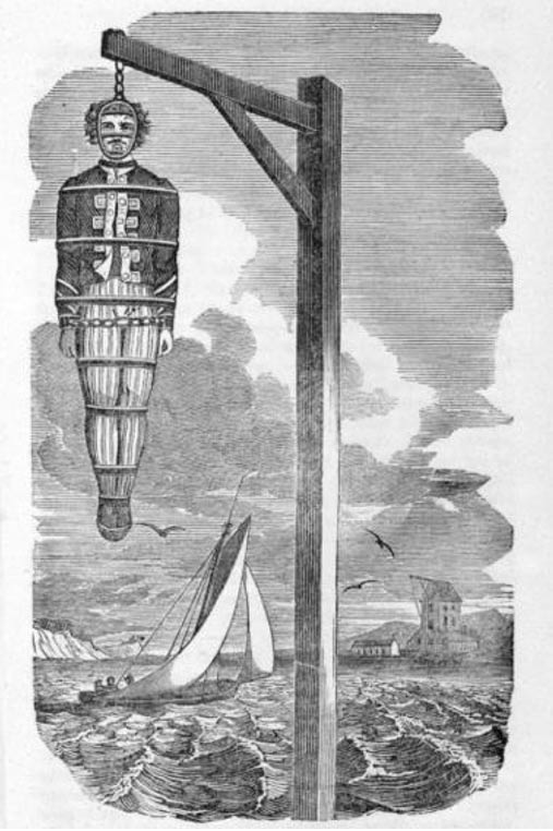 Captain Kidd hanging from a gibbet over the River Thames