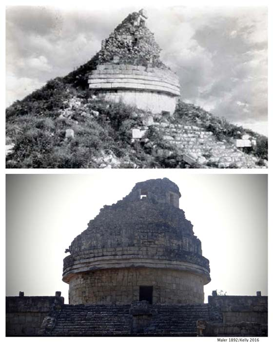 [Top] El Caracol as it appeared just before major excavation was started (MALER, 1892), and [Bottom] El Caracol as it is today (Kelly Lenfest, 2016/CC BY-NC-SA 2.0)