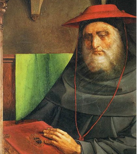 Portrait of Cardinal Bessarion, 1473-75 by artists: Justus van Gent and Pedro Berruguete. Currently at the Louvre Museum, Paris.