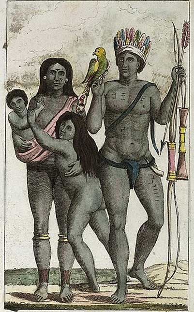Carib (Kalina or Galibi) indian family after a painting by John Gabriel Stedman. (1818)