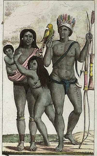 Carib (Kalina or Galibi) indian family after a painting by John Gabriel Stedman. (1818)