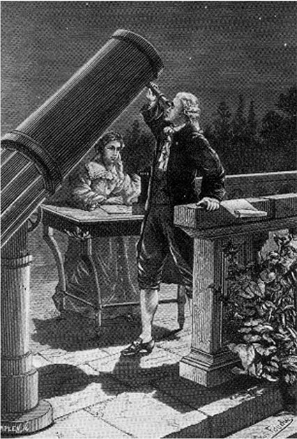 Caroline Herschel taking notes as her brother William observes on March 13, 1781, the night William discovered Uranus. (H.Seldon / Public Domain)