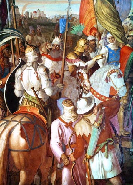 The Carolingian dynasty had to deal with invasions into their territories, here the Saracen Army is outside Paris, 730-32 AD. (Mathiasrex / Public Domain)