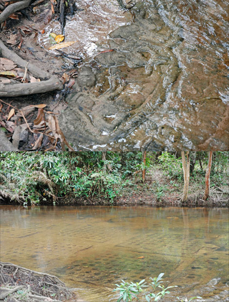 Carving of Vishnu in the riverbed