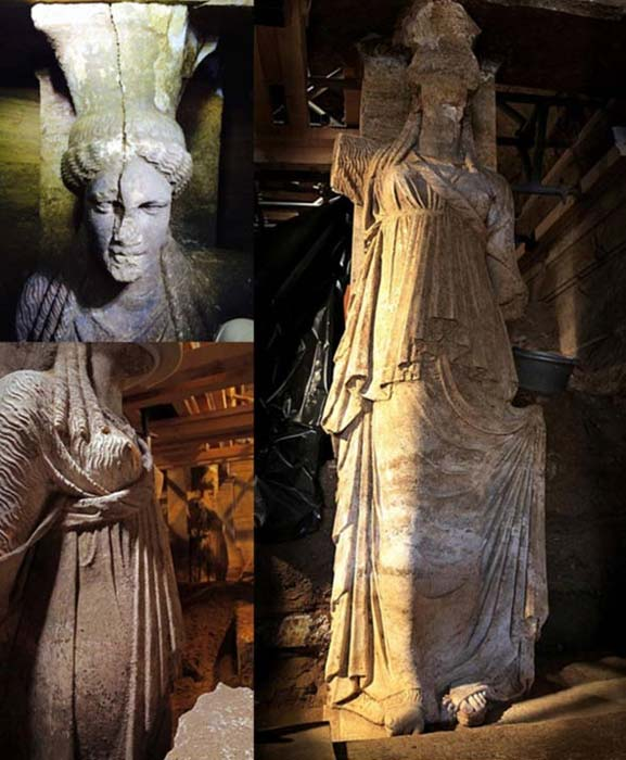 Caryatid sculptures found within Amphipolis tomb in Greece.